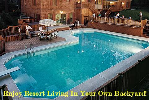 resort living in your own backyard backyard swimming pool - Backyard Swimming Pool Designs